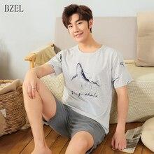 BZEL 2019 New Summer Homewear Men Cotton Sleepwear Shorts Set Pajamas
