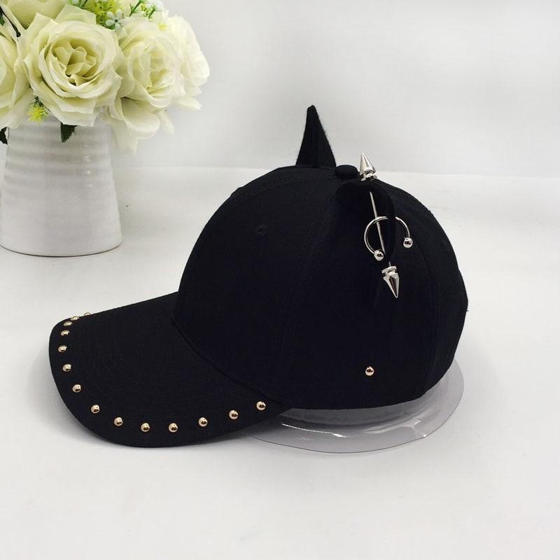 metal baseball cap female cotton equestrian cap ears 5