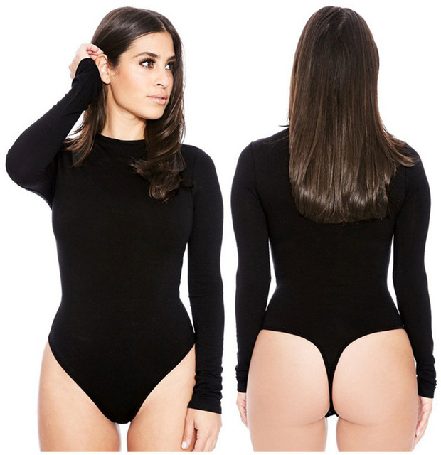 Sexy Romper Women Bodysuit Long Sleeve 2019 Spring New Solid Jumpsuits Club Wear O-Neck Sexy Bottoming Shirt Women Clothings 1