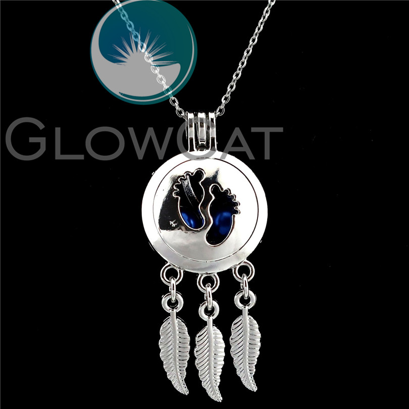 Fashion Silver Tone Cone Shaped Beads Cage Locket Pendant Necklace 50 cm