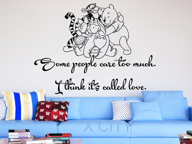 Winnie The Pooh Wall Decals Quotes Vinyl Sticker Some People Care Too Much Nursery Baby Room