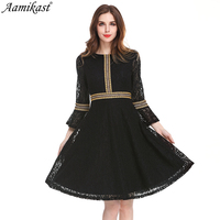 Aamikast Womens Elegant Autumn Lace Dress Work Casual Slim Fashion O neck Patchwor Sexy Hollow Out Dresses Women A line Vintage