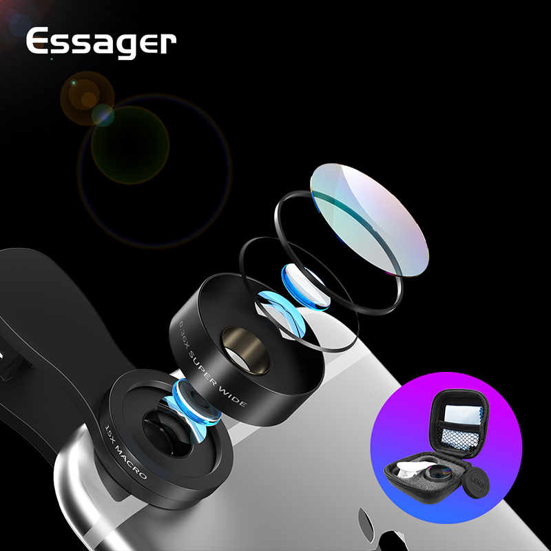 Essager Phone Camera Lens Wide Angle 15X Macro Lens Kit