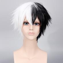 Perruque Monokuma synthétique Anime Danganronpa, perruque courte noire et blanche pour femmes et hommes, coiffure pour Costume de Cosplay pour fête dhalloween