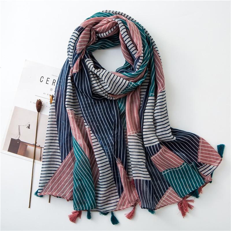 New 2019 Spain Fashion Patchwork Plaid Viscose Shawl Scarf Women High Quality Print Pashmina Stole Bufanda Muslim Hijab 180*90Cm