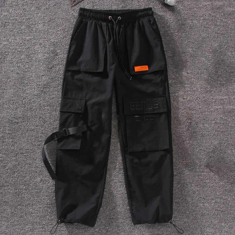 Autumn Streetwear women's pants embroidery Casual Cargo Pants Women Joggers Solid Big Pocket Pants High Waist Loose Female Pants