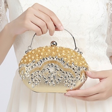 Gold Silver Luxury Women Day Clutches Chain Beading Evening Bag Wholesale Bridal Wedding Party Purses and Handbags Crossbody bag цена