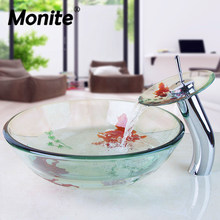 Monite Golden Fish Bathroom Temperred Glass Hand Painted Vessel Sink Brass Tap Faucet Pop up Drain Combo Basin Sink Set(China)