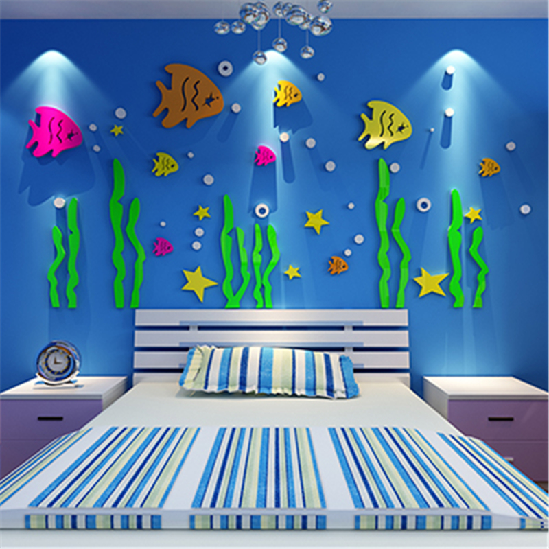 9 Creative Diy Room Decorations: New DIY Underwater World Acrylic Wall Stickers For Kids