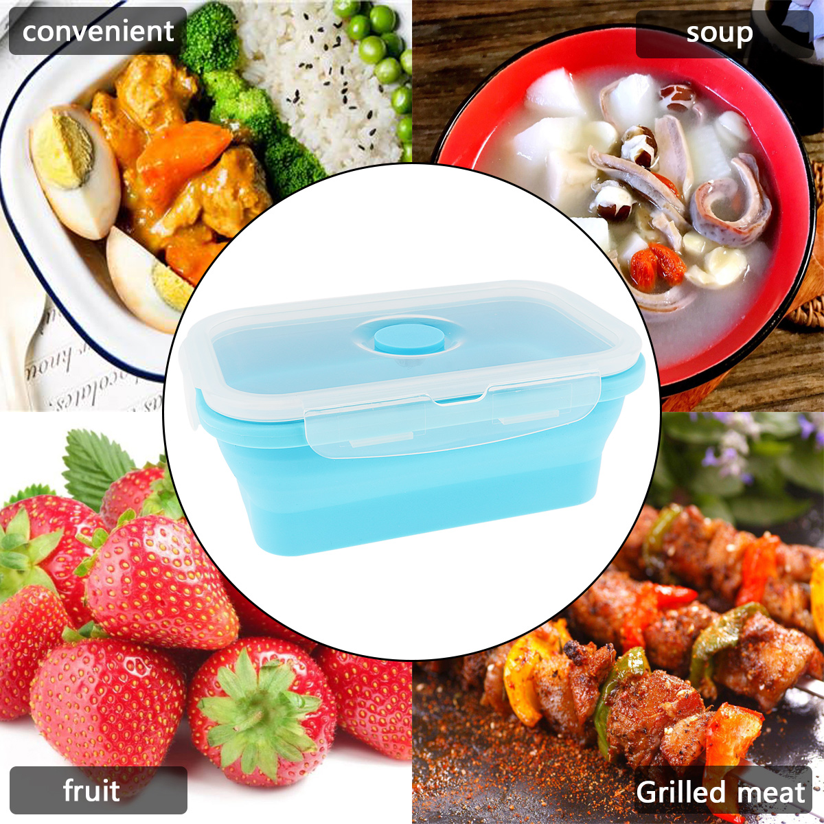 Portabl 550ML Rectangle Silicone Scalable Folding Lunchbox Bento Box with Thickening Card Buckle for 40 230 Degrees in Lunch Boxes from Home Garden