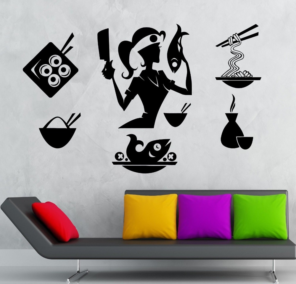 popular chef wall decalsbuy cheap chef wall decals lots from  - sushi girl vinyl wall decal japanese sushi chef food oriental restaurantmural art wall stickerhome decoration