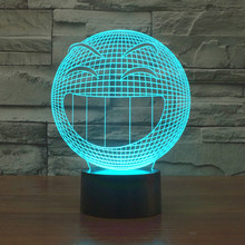 new Q- smiling face 3D colorful touch LED visual light gift atmosphere desk lamp