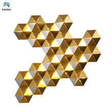 Creative Luxury Honeycomb Nest Gold Lustre Led Wall Lamp Plate Mirror Steel Luminaria Wall Scones Hotel Led Lighting Lamparas(China)