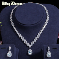 BlingZircons Luxury Women Statement Jewelry Sets Shiny Big Water Drop Cubic Zirconia Bridal Wedding Earrings Necklace Set JS023