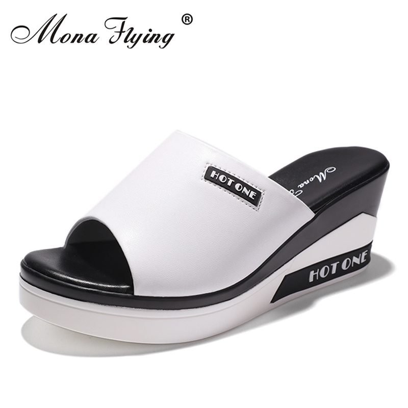 Women Wedges Slides Shoes 2018 Summer New Fashion Brand Leather Women Flat Platform Slippers for Women Big Size Sandals 808-01 32 43 big size summer woman platform sandals fashion women soft leather casual silver gold gladiator wedges women shoes h19