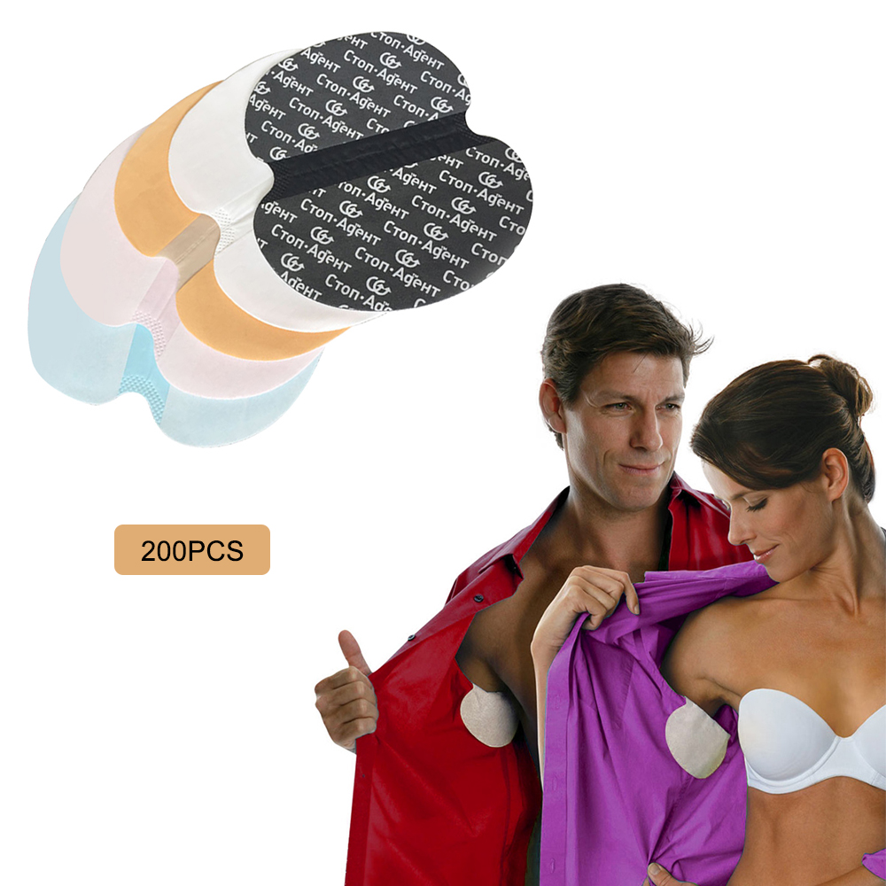 200PCS Summer Deodorant Underarm Sweat Pads Disposable Armpit Patches Absorbing Stickers Anti Perspiration Black Cotton Patch