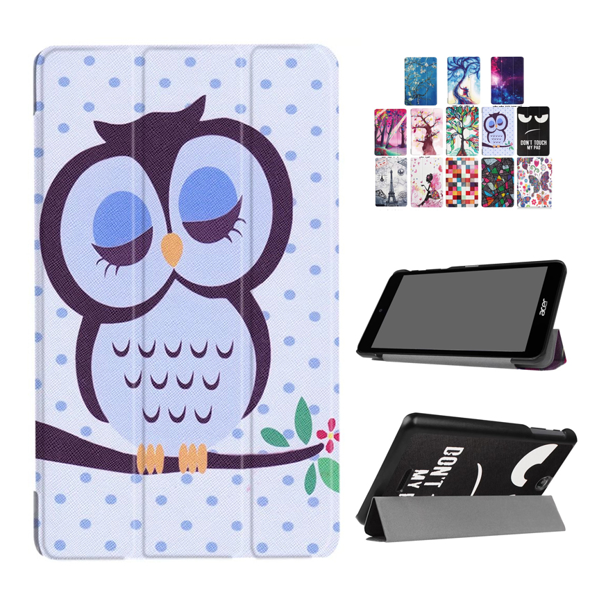 For Acer B1 790 PU Leather Case Cover Slim 7'' Colorful Print Protective Stand For Acer Iconia One 7 B1-790 Tablet Smart Fundas slim print case for acer iconia tab 10 a3 a40 one 10 b3 a30 10 1 inch tablet pu leather case folding stand cover screen film pen