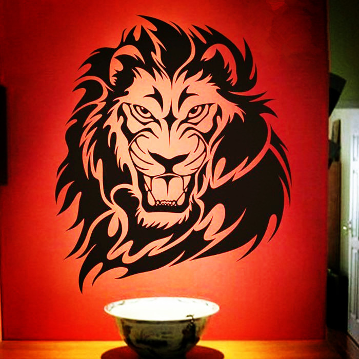 Free Shipping Fashion African Animal Lion Pattern Character Living Room Vinyl Carving Wall Decal Sticker For Home Decor