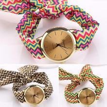 New! Hot New Trendy Girls Korea Style Striped Scarf Band Dial Analog Quartz Streamer Wrist Watch for Daily Use 5L5S