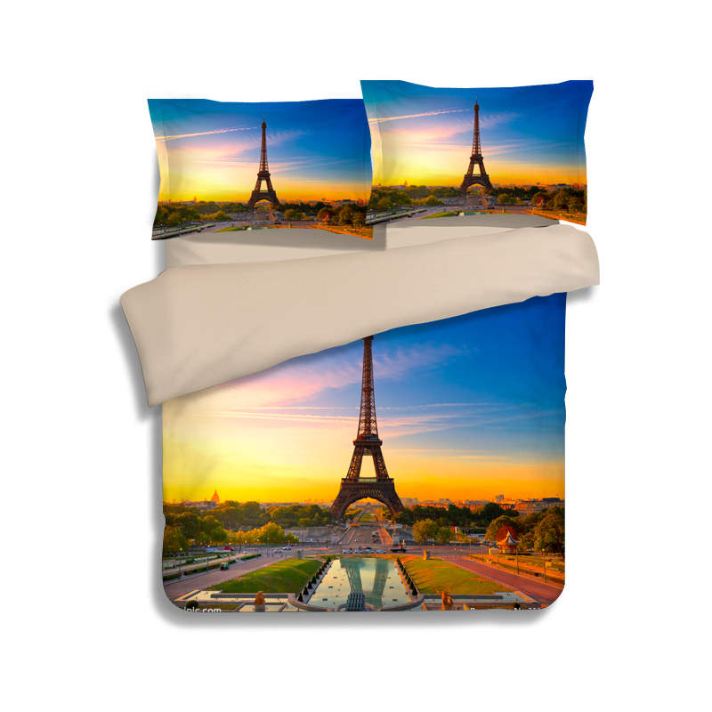 Paris The Eiffel Tower 3D Bedding Sets Single Twin Full Queen King Size Quilt/Duvet Cover 3pc Child Girls Bed Linens Blue Yellow