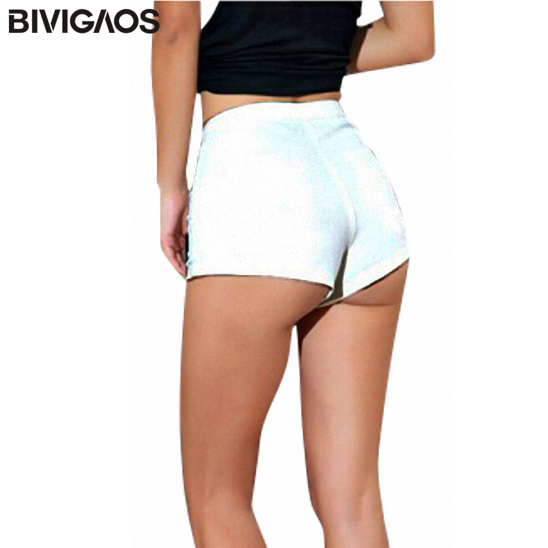 BIVIGAOS 2019 Summer New Fashion Womens Sexy Skinny Thin High Waist Shorts Shorts de mezclilla Jeans Cremallera lateral Short Ropa de mujer