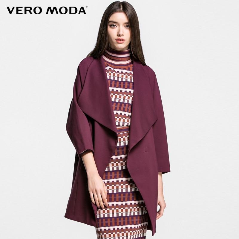 Vero Moda Brand 2018 NEW three quarter bat sleeve OL-style regular long solid color turn-down collar women   trench   coat|316121017