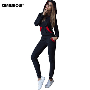 Image 4 - Xuanshow 2020 Mode Herfst Winter Trainingspak Vrouwen Hoodies Sweatshirts + Lange Broek Tweedelige Set Outfits Gebreide Chandal Mujer