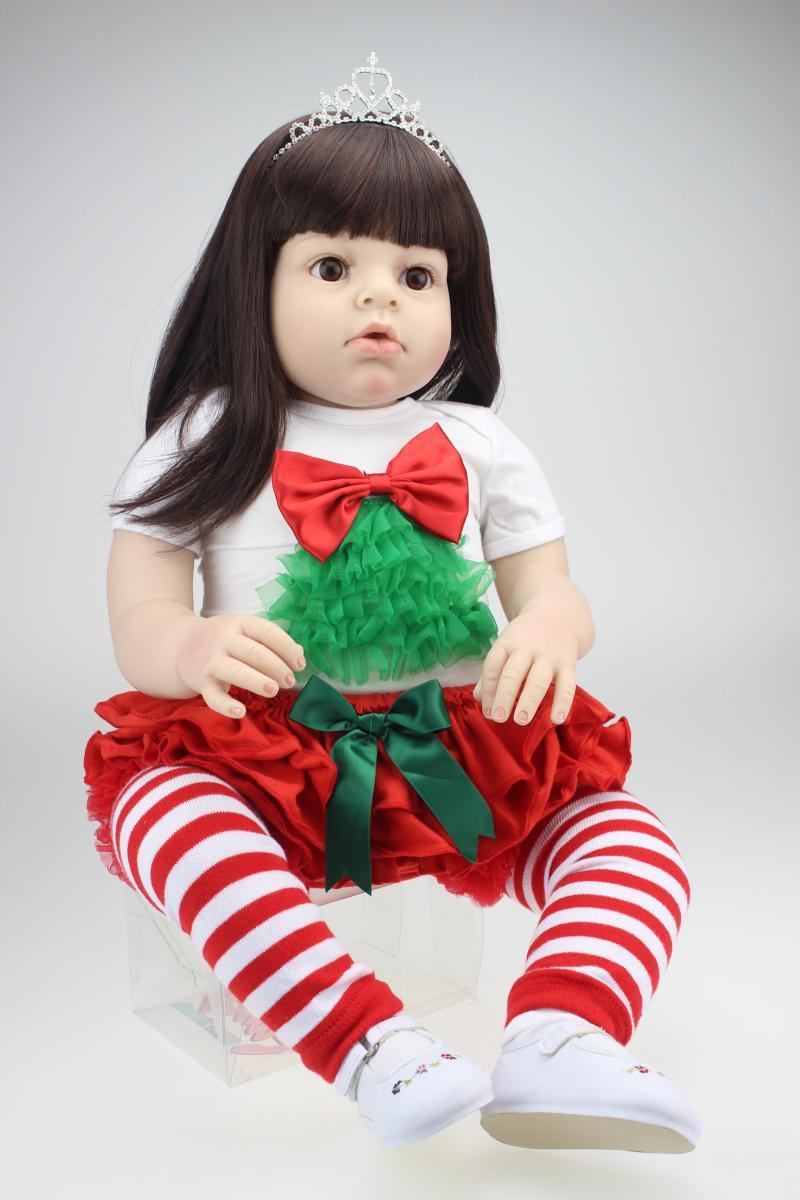 28 Inch Vinyl Big Size Reborn Toddler Baby Dolls Arianna Series Wearing Christmas Dress Princess