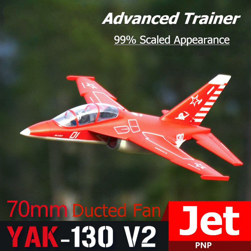 FMS RC Airplane Yak-130 V2 70mm Ducted Fan EDF Jet Big Scale Model Plane Aircraft Avion PNP 6S with Retracts Flaps Yak130 image