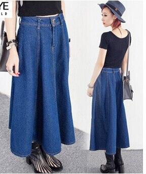 966f1b583 Una línea de moda Denim faldas largas tallas grandes SizeL diseño mujeres  Casual falda de Jean