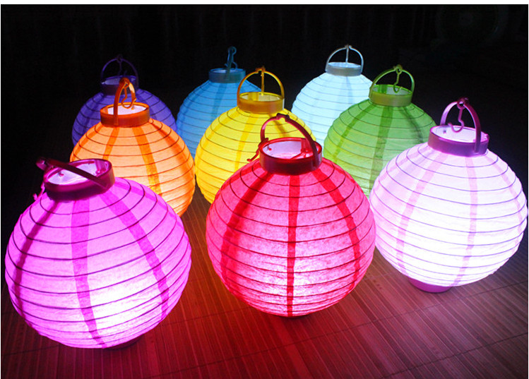 US $29 88 |20CM LED lamp battery National Day new year Mid Autumn Festival  festival lanterns wedding paper lantern lantern Chandelier-in Party DIY