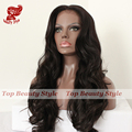 Long Body Wave Brown Color Synthetic Lace Front Wig With Baby Hair Top Quality Heat Resistant Synthetic Hair Wigs