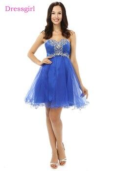 05b9c9818 Mejor Real azul 2019 vestidos de una línea corta Mini Organza con cuentas  cristales vestidos de cóctel