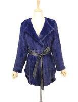 Hot Sale Vintage Natural Real Mink Fur Coats With Belt For Women