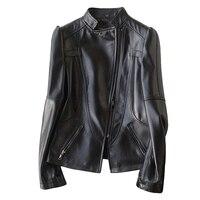 Из натуральной овечьей кожи пальто для женщин Новинка 2019 года Весенняя мода пояса куртка короткая молния байкерские куртк