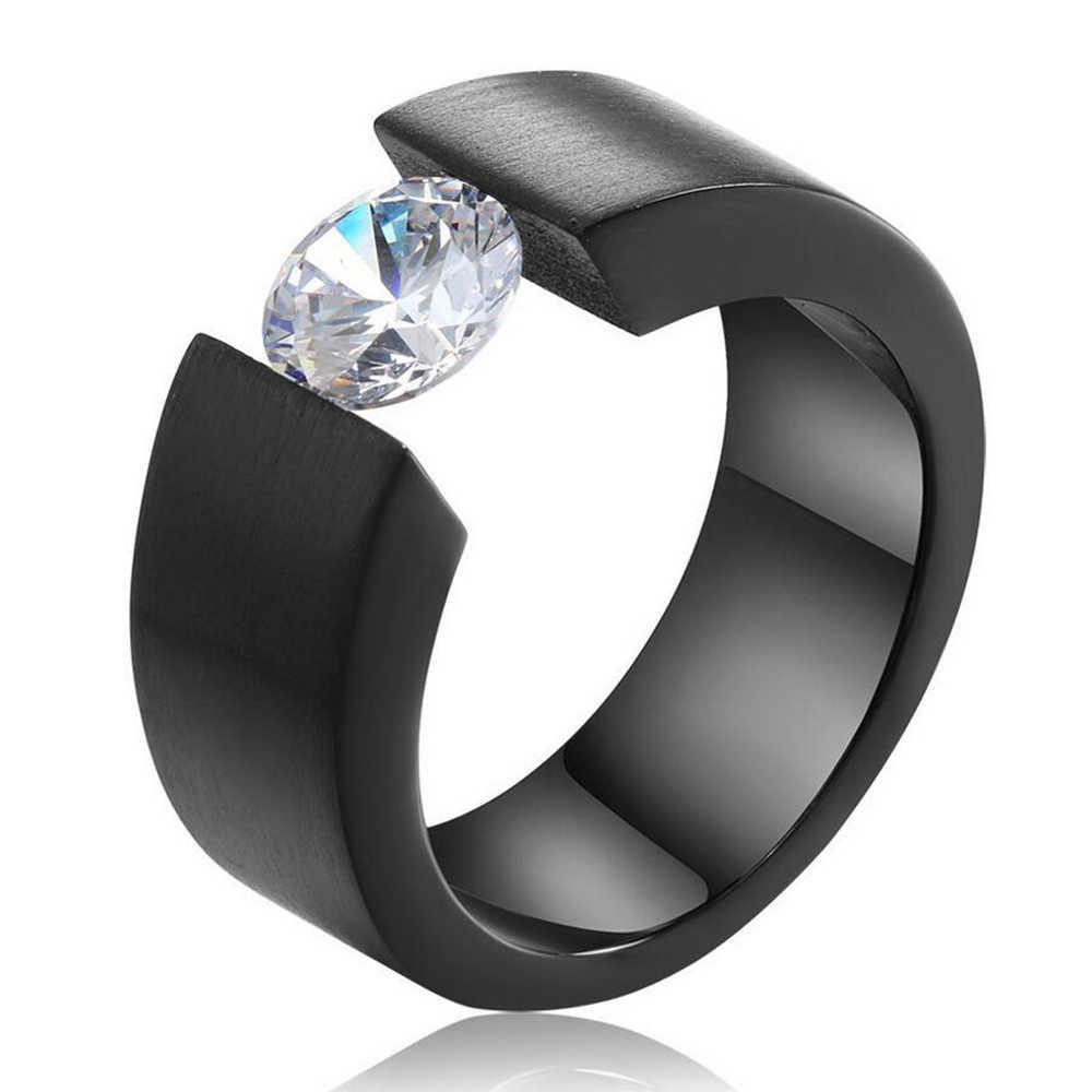รอบ CZ Zircon แหวนผู้ชายผู้หญิงสีดำทองเงินสีสแตนเลสหมั้นครบรอบแหวน dropshipping