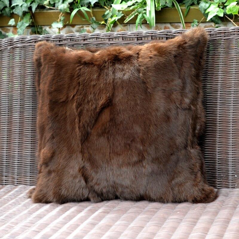 Livraison gratuite CX-D-17H Patchwork naturel brun lapin fourrure canapé housse de coussin fourrure oreiller coussin décoration taies d'oreiller