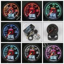 Люминесцентный манометр GReddi, 7 цветов, светильник, ЖК-дисплей с измерителем напряжения, автомобильный манометр, 62 мм, 2,5 дюйма, с датчиком, гоночный манометр