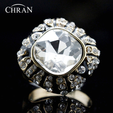 Chran Elegant Gold Color Square Stone Finger Rings for Women Fashion Enamel Crystal Jewelry