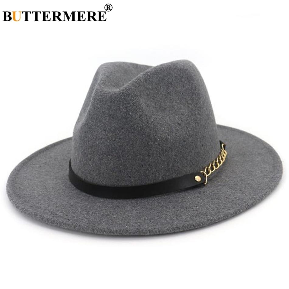 BUTTERMERE Fedora Wide Brim Felt Hat Women Navy Blue Casual Jazz Hats Men  With Chain Solid 2bd69df35