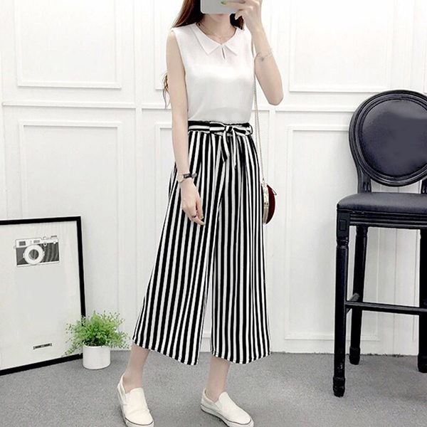 Womens   Wide     Leg   High Waist Casual Summer Thin   Pants   Loose Culottes Trousers KS-shipping