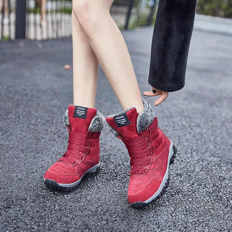 EOFK Ile 2019 Kadın Çizmeler Kış Botları Kadın Sıcak Kürk yarım çizmeler Kadınlar Için Deri Yüksek Üst Ayakkabı Peluş Ayakkabı