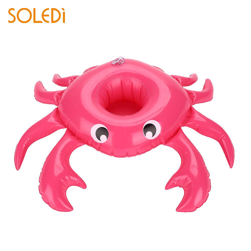 Drink Holder Inflatable Cup Holder Crab Rose Red Cup Mats Decoration Foil Balloons Wedding Party Supply Swimming Pool Toys