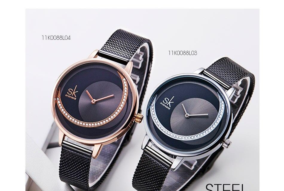 SK Shengke Rhinestone Watches For Women Brand Ladies Quartz Wrist Watch Reloj Mujer 2019 Luxury Stainless Steel Women Watch xfcs (8)