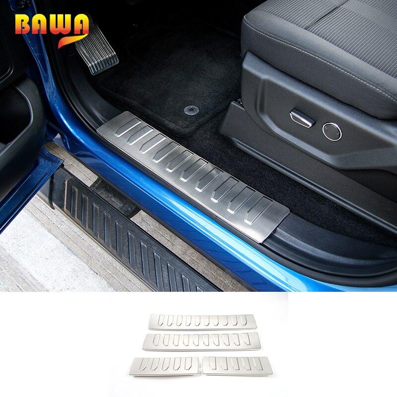 HANGUP acier inoxydable seuil de porte entrée garde garniture seuil plaque décoration intérieure autocollants pour Ford F150 2015 Up voiture style