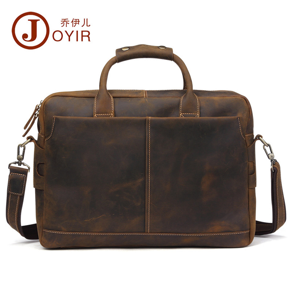 купить Luxury Genuine Leather Briefcase Men bag Crazy horse Leather Laptop Bag portfolio men Business bag male brief office bag 2018 по цене 8206.62 рублей