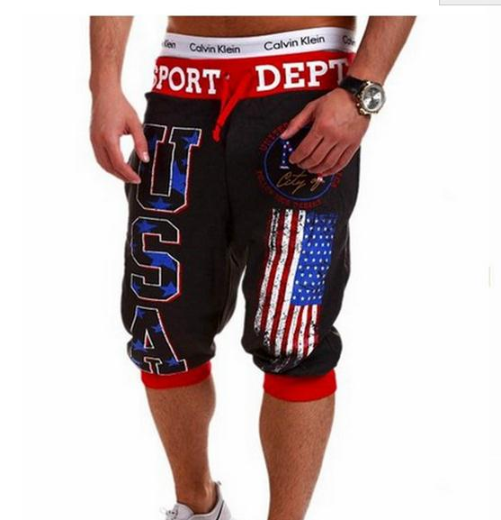 New 2017 Outdoor Summer USA Printed Sweatpants Sport Hip Hop Trainning Exercise Capri Pants Patchwork Drawstring 4Color M-XXL