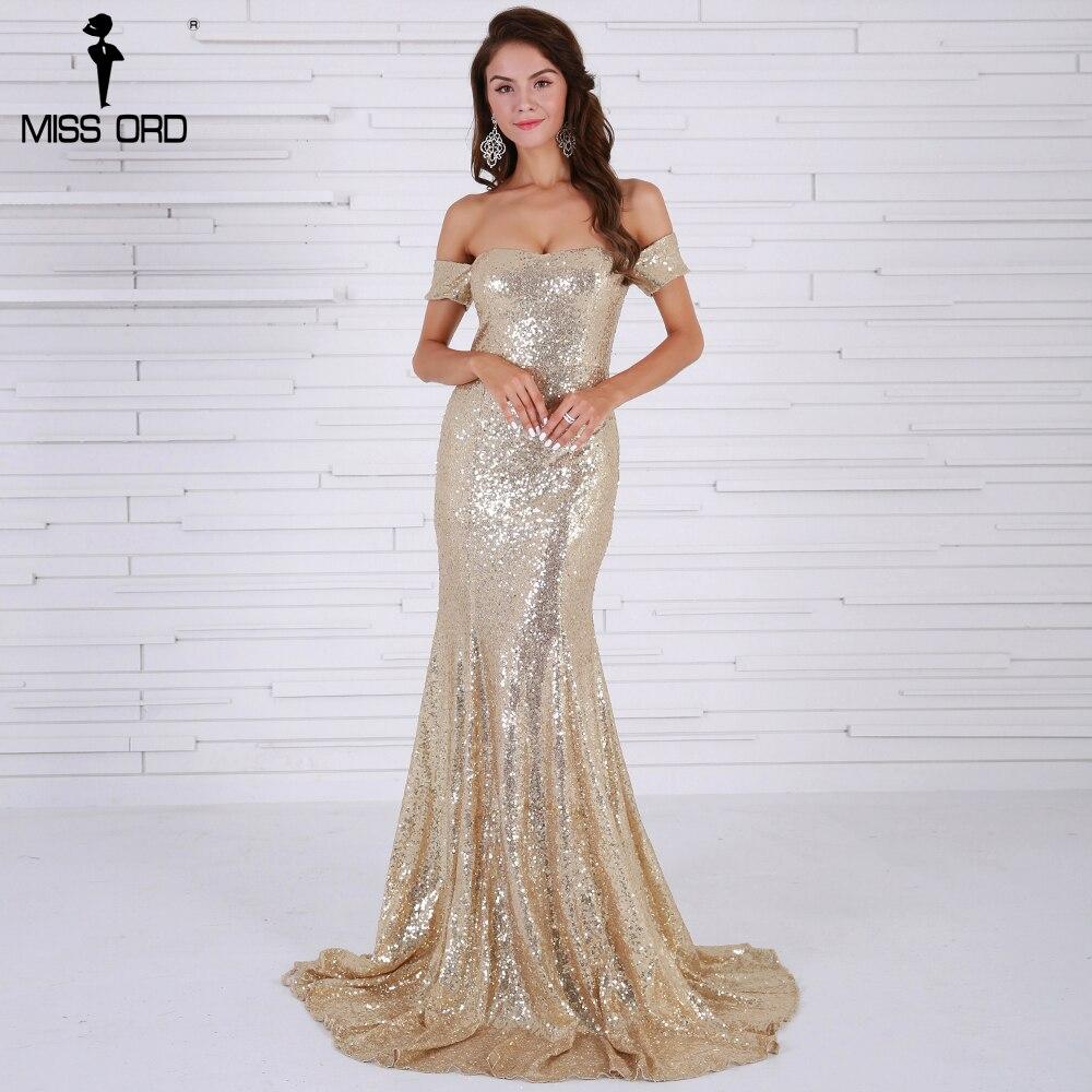 e82bdf33e0 Missord 2017 Sexy BRA Off Shoulder Sequin Vestidos Backless Gold Color  Women Maxi Party Dress FT8415
