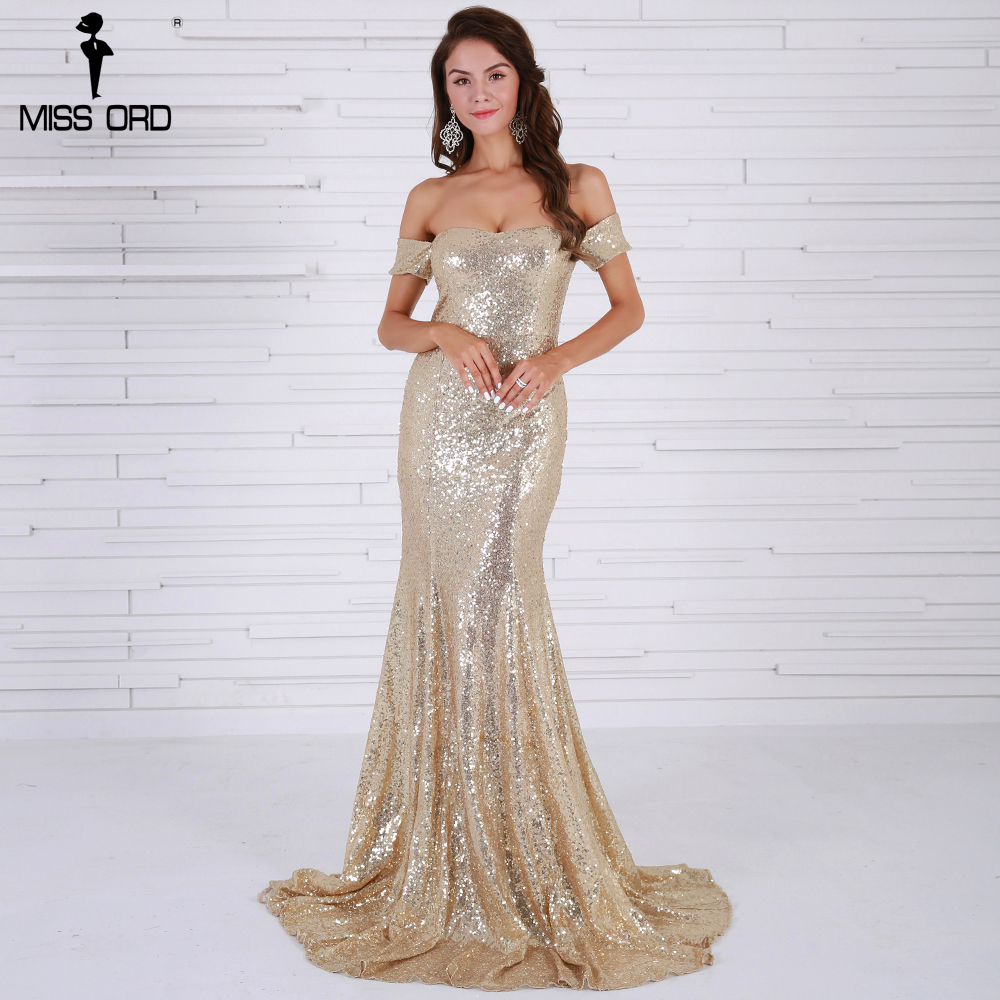 Missord 2017 Sexy  BRA Off Shoulder Sequin Vestidos  Backless Gold Color Women  Maxi Party  Dress  FT8415