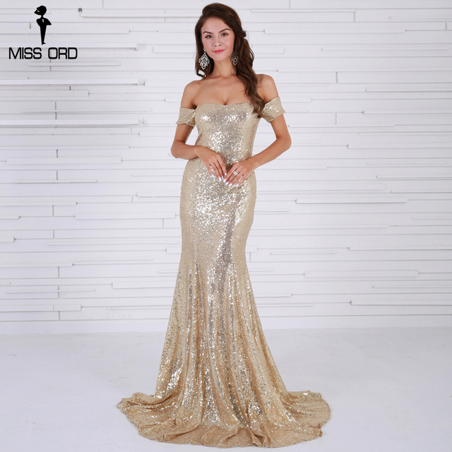 59c89fe7ec769 Missord 2017 Sexy BRA Off Shoulder Sequin Vestidos Backless Gold Color Women  Maxi Party Dress FT8415